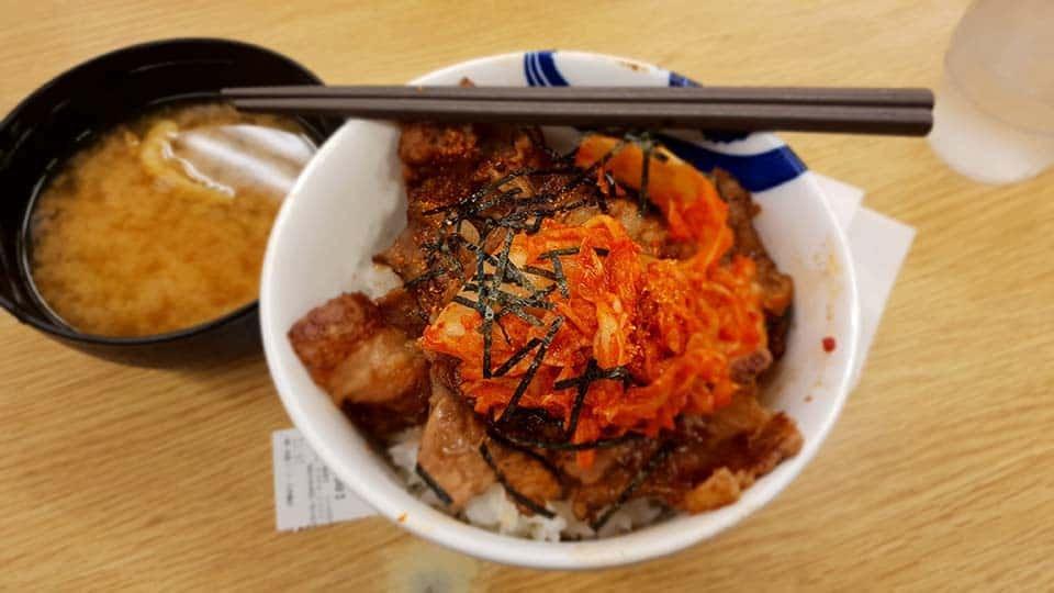 menu makan malam di matsuya nipponbashi Osaka