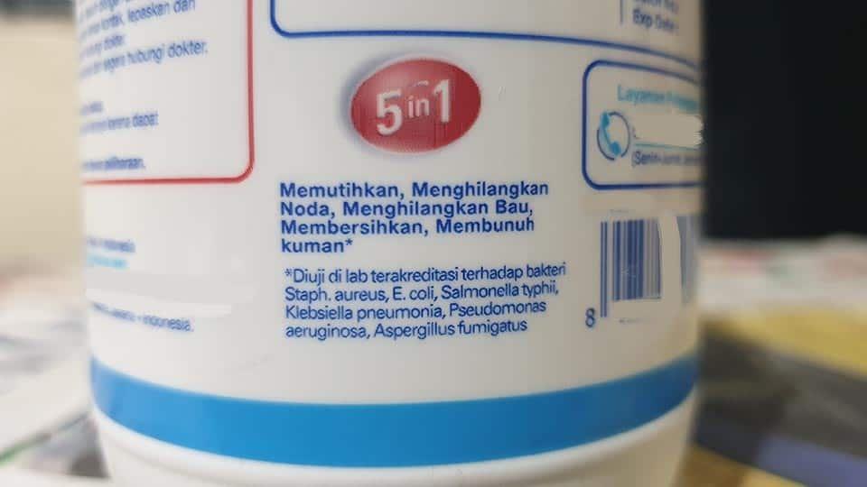 perbedaan antiseptik dan desinfektan, salah satu produk pemutih baju