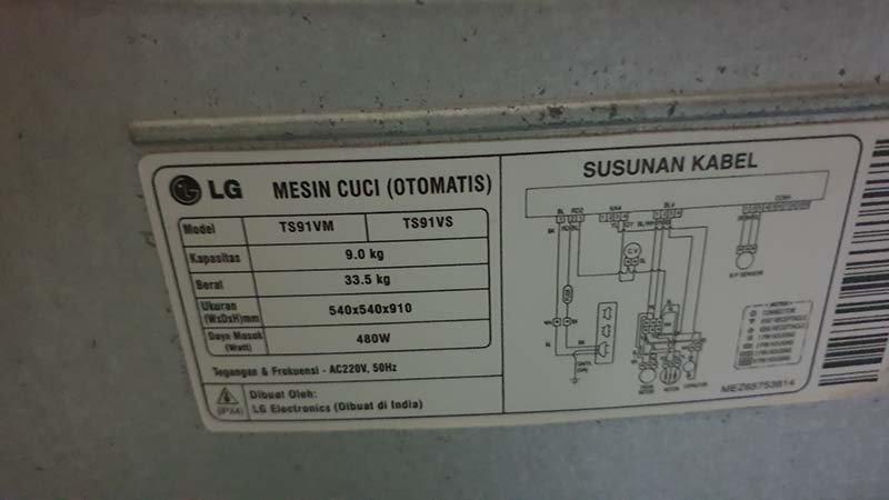label mesin cuci LG TS91VM/TS91VS di bagian belakang